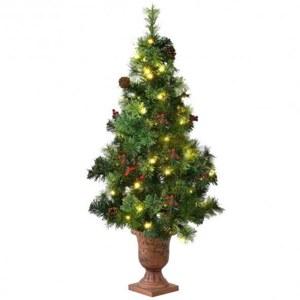 LED Christmas Tree with Red Berries Pine Cones-4'