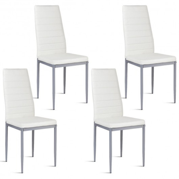 4 pcs PVC Leather Dining Side Chairs Elegant Design -White