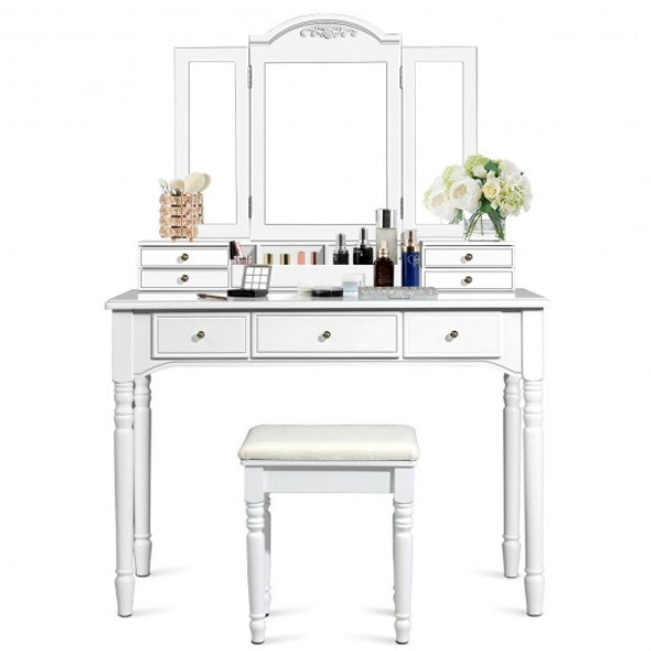 Makeup Dressing Table with Tri-Folding Mirror and Cushioned Stool for Women-White