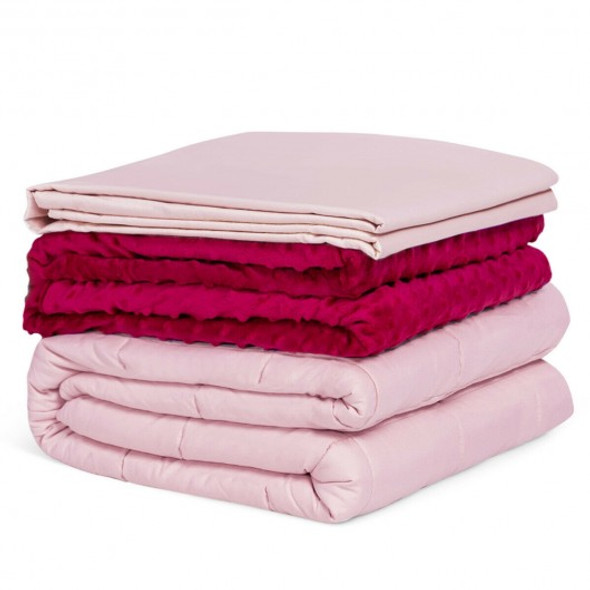 10lbs 3 pcs Heavy Weighted Duvet Blanket-Pink