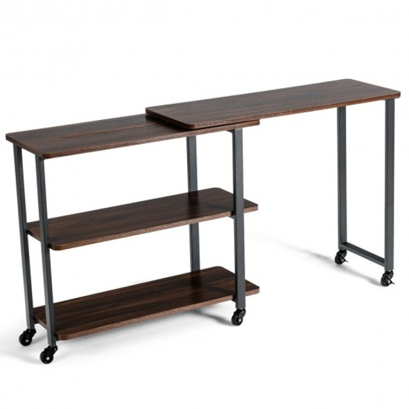 360 Rotating Sofa Side Table with Storage Shelves and Wheels-Walnut