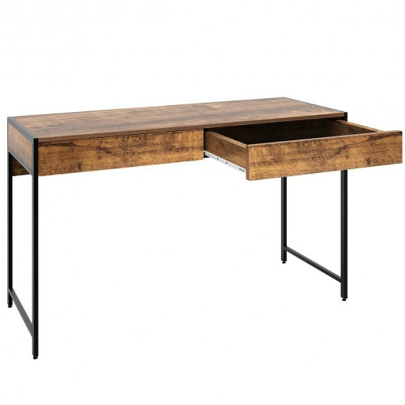 2-Drawer Computer Desk Study Table Home Office Writing Workstation-Coffee