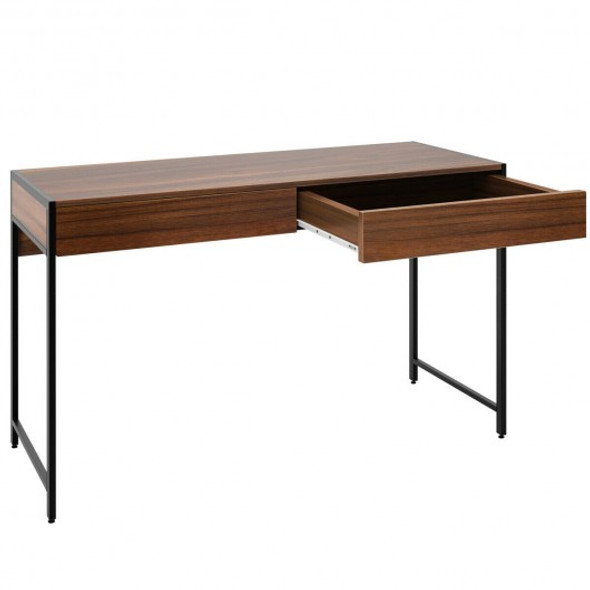 2-Drawer Computer Desk Study Table Home Office Writing Workstation-Brown