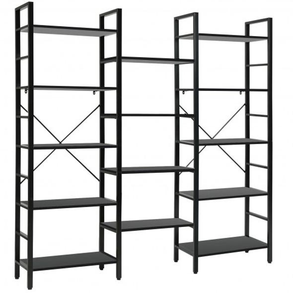 Vintage Triple Wide 5-Tier Bookcase Large Bookshelf Display Storage Shelf-Black