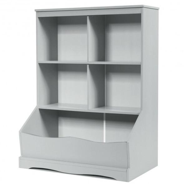 3-Tier Children's Multi-Functional Bookcase Toy Storage Bin Floor Cabinet-Gray