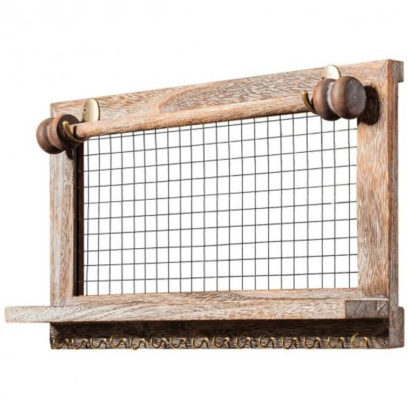 Vintage Wood Wall Mounted Jewelry Organizer Display Rack with Bracelet Rod-Brown