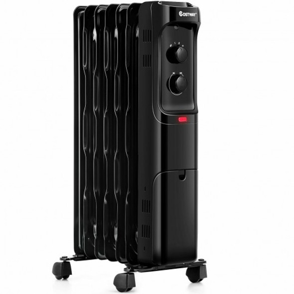 1500W Oil Filled Portable Radiator Space Heater with Adjustable Thermostat-Black