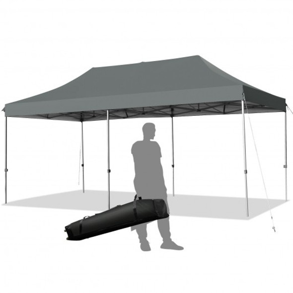 10'x20' Adjustable Folding Heavy Duty Sun Shelter with Carrying Bag-Gray