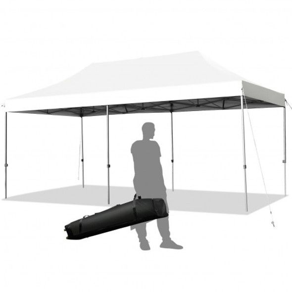 10'x20' Adjustable Folding Heavy Duty Sun Shelter with Carrying Bag-White