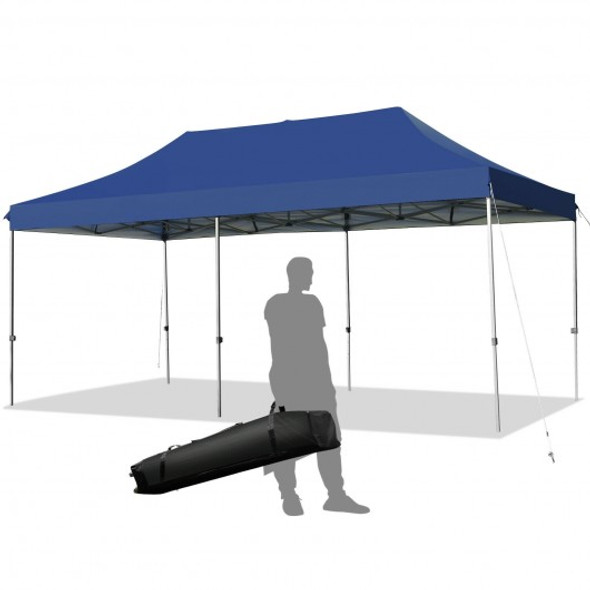 10'x20' Adjustable Folding Heavy Duty Sun Shelter with Carrying Bag-Blue