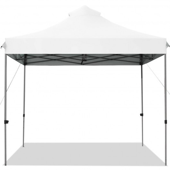 10' x 10' Portable Pop Up Canopy Event Party Tent Adjustable with Roller Bag-White