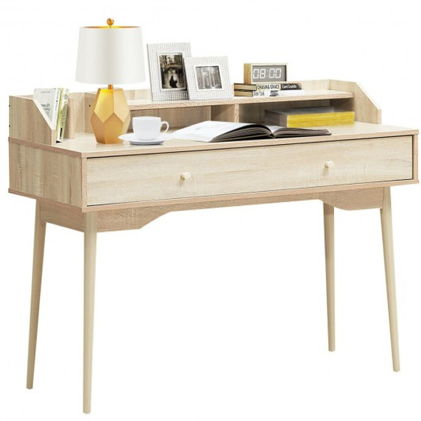 Writing Desk with Drawer Computer Wooden Desk-Natural