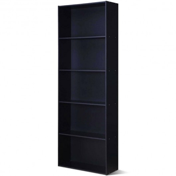 5-Shelf Storage Bookcase Modern Multi-Functional Display Cabinet Furniture-Black