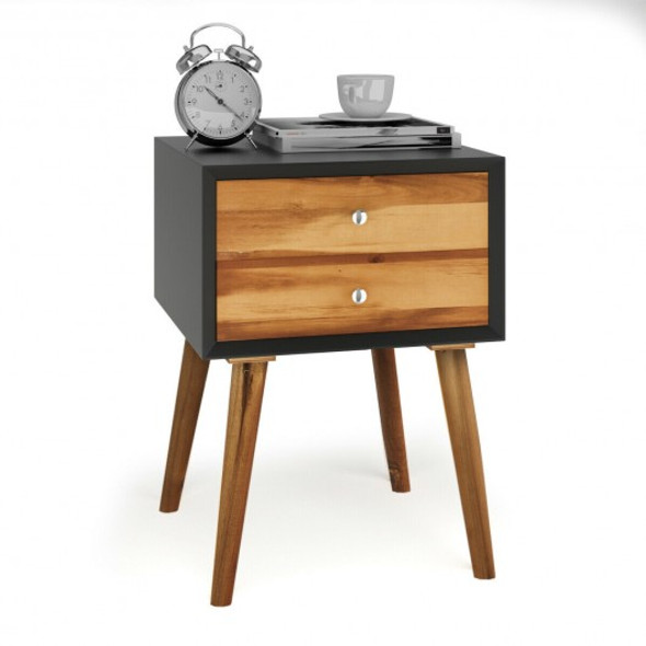 Nightstand Wooden End Table Bedside Table - COHW63800BK