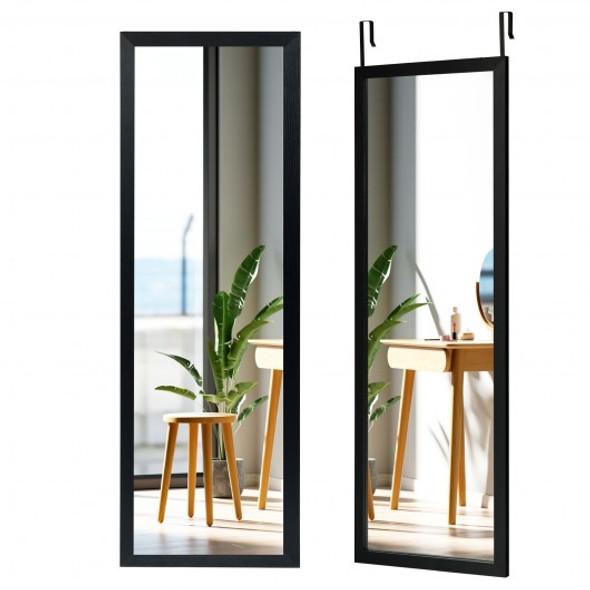 Wood Frame Full Length Hanging Mirror-Black
