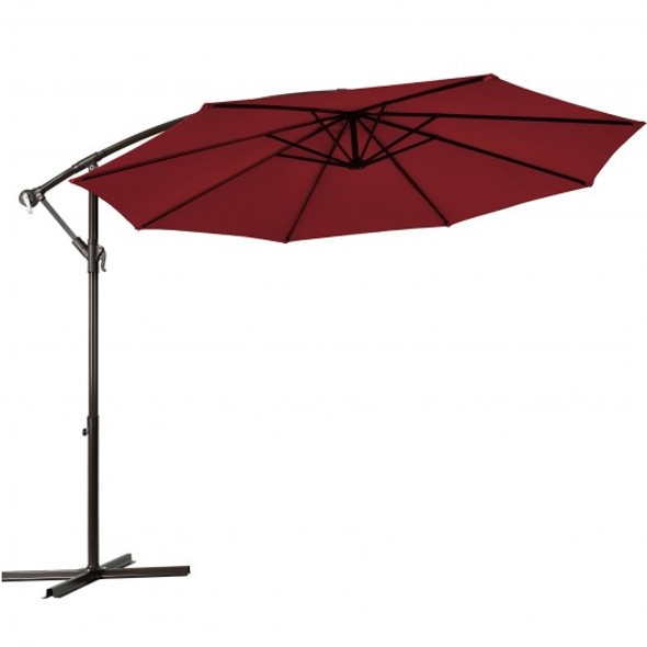10 Ft Patio Offset Hanging Umbrella with Easy Tilt Adjustment-Burgundy