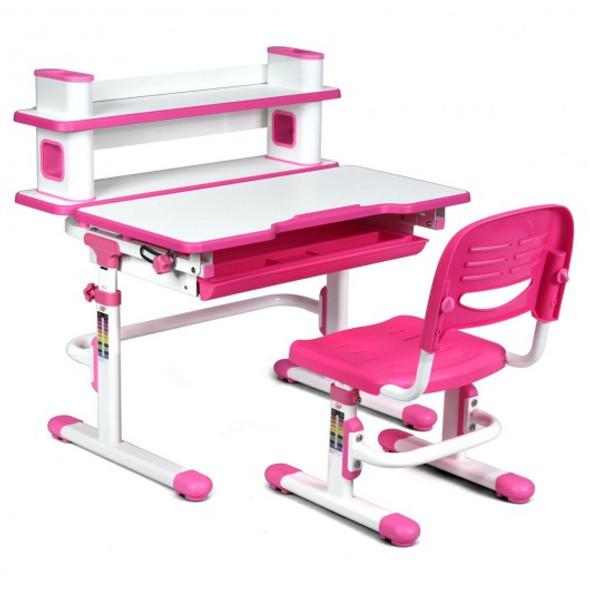 Adjustable Kids Desk and Chair Set with Bookshelf and Tilted Desktop-Pink