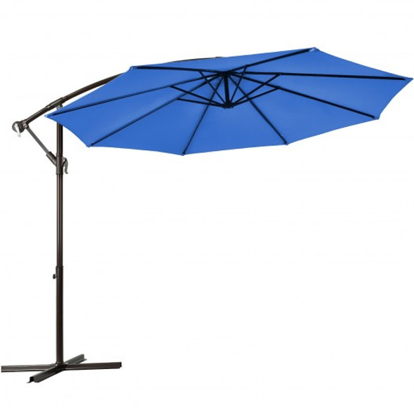 10 Ft Patio Offset Hanging Umbrella with Easy Tilt Adjustment-Blue