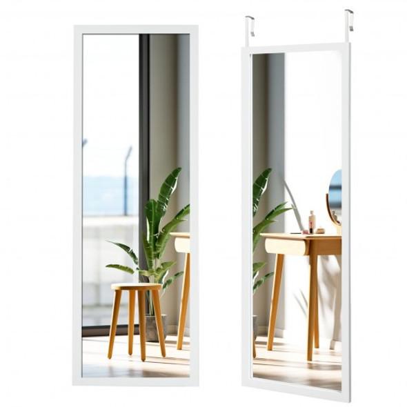 Wood Frame Full Length Hanging Mirror-White