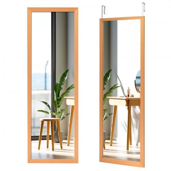 Wood Frame Full Length Hanging Mirror-Golden