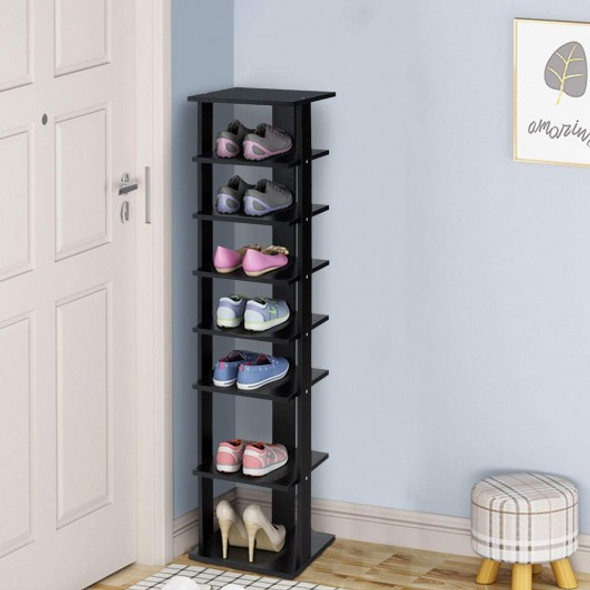 7-Tier Shoe Rack Practical Free Standing Shelves Storage Shelves -Black - COHW66075BK