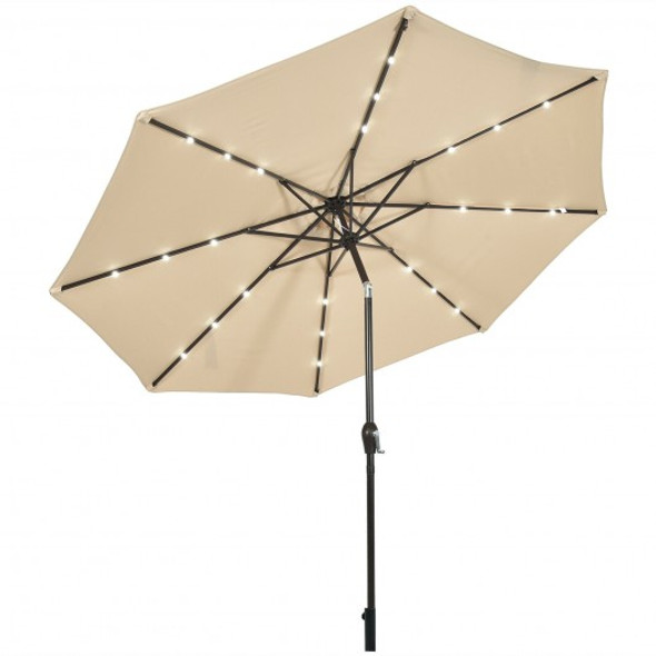 10' Solar LED Lighted Patio Market Umbrella Shade Tilt Adjustment Crank-Beige