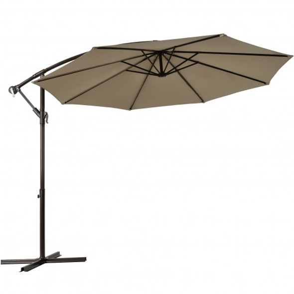 10 Ft Patio Offset Hanging Umbrella with Easy Tilt Adjustment-Tan