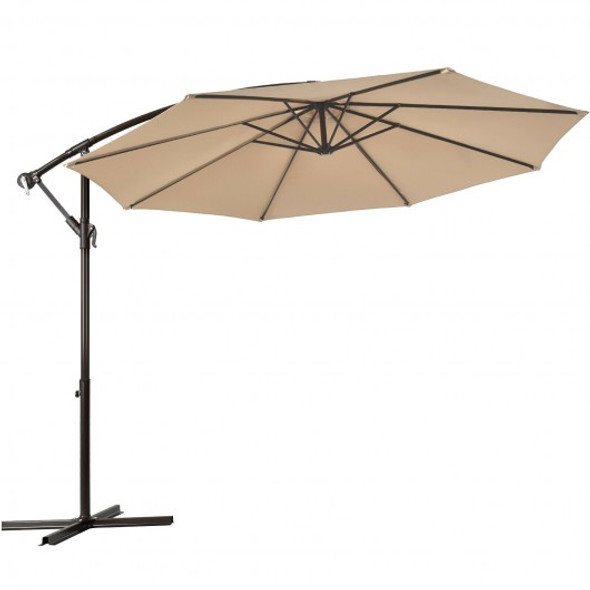 10 Ft Patio Offset Hanging Umbrella with Easy Tilt Adjustment-Beige