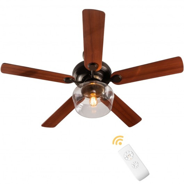 """52"""" Vintage Ceiling Fan Light with Remote Control Reversible Blades Home Indoor"""