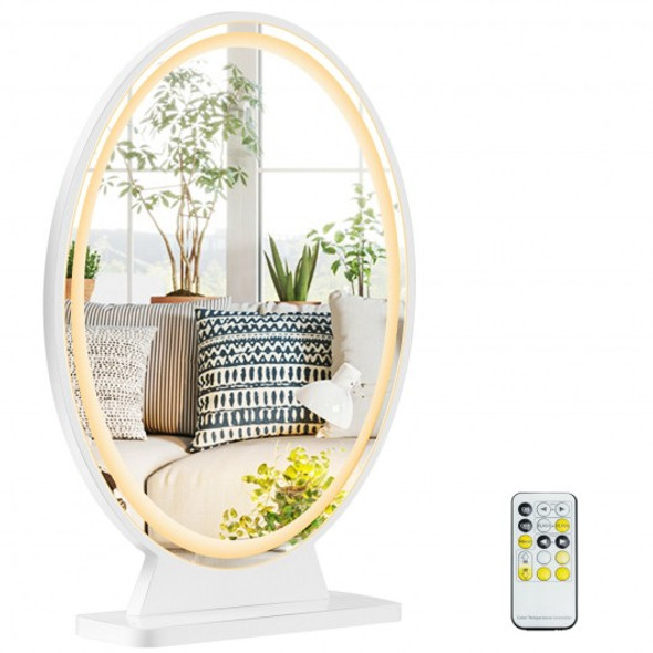 Hollywood Vanity Lighted Makeup Mirror Remote Control 4 Color Dimming-White