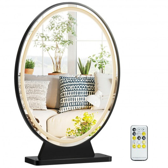 Hollywood Vanity Lighted Makeup Mirror Remote Control 4 Color Dimming-Black
