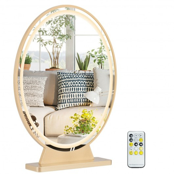 Hollywood Vanity Lighted Makeup Mirror Remote Control 4 Color Dimming-Golden