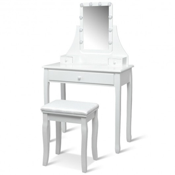 10 LED Lighted Mirror and 3 Drawers Vanity Table Set-White - COHW66051US-WH