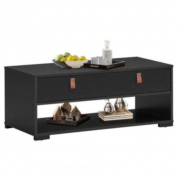 Coffee Table Wood Accent Cocktail Table with 2 Drawers & Open Storage Shelf-Black