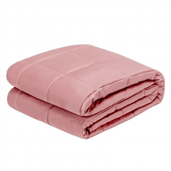 "15 lbs 60"" x 80"" Heavy Weighted Blanket Natural Bamboo Fabric Soft Breathable-Pink"