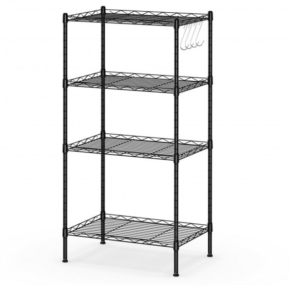 4-Wire Shelving Metal Adjustable Storage Rack with Removable Hooks-Black