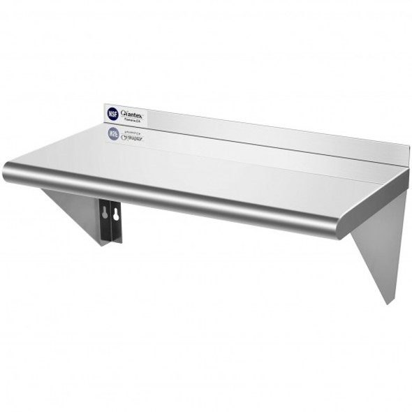 "12"" 24"" Stainless Steel NSF Commercial Wall Mount Shelf for Kitchen and Restaurant"