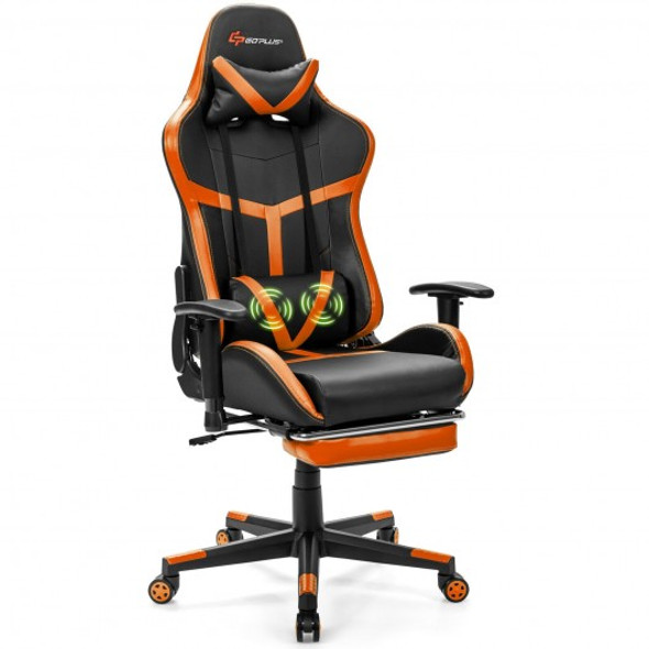 Reclining Racing Chair with Lumbar Support Footrest-Orange - COHW66641YE