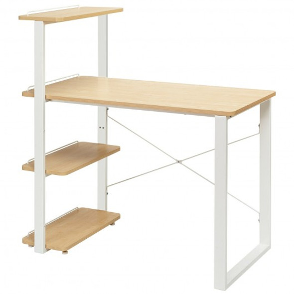 Reversible Computer Desk Study Table Home Office with Adjustable Bookshelf-Natural