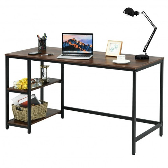 """47""""/55"""" Computer Desk Office Study Table Workstation Home with Adjustable Shelf Coffee-L"""