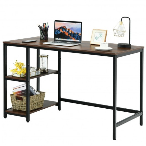 """47""""/55"""" Computer Desk Office Study Table Workstation Home with Adjustable Shelf Coffee-M"""