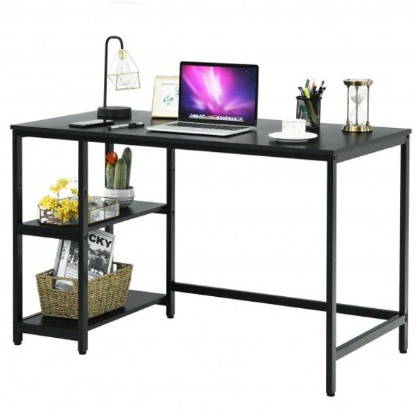 "47""/55"" Computer Desk Office Study Table Workstation Home with Adjustable Shelf Black-M"