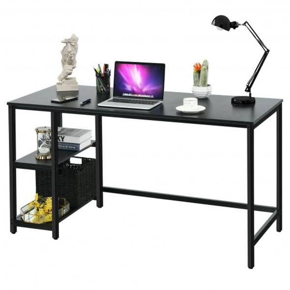 """47""""/55"""" Computer Desk Office Study Table Workstation Home with Adjustable Shelf Black-L"""