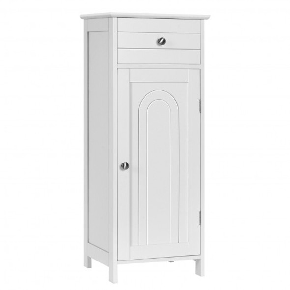 Wooden Storage Free-Standing Floor Cabinet with Drawer and Shelf-White