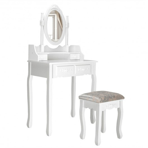 Vanity Table Set with Oval Mirror and 4 Drawers - COHW66022WH