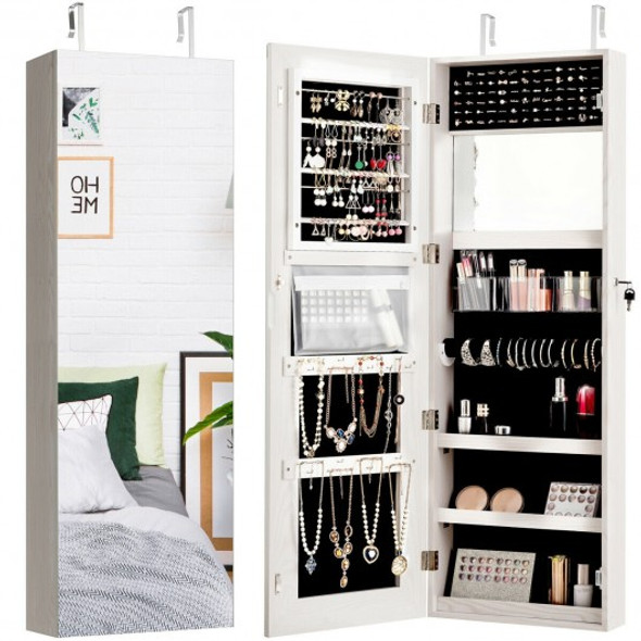 Lockable Storage Jewelry Cabinet with Frameless Mirror-White - COHW66077WH