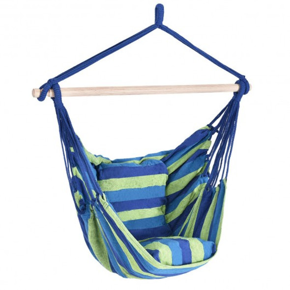 4 Color Deluxe Hammock Rope Chair Porch Yard Tree Hanging Air Swing Outdoor-Blue and Green - COOP70556BL