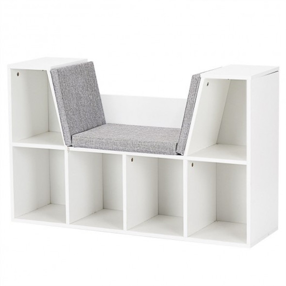 6-Cubby Kid Storage Bookcase Cushioned Reading Nook - COHW65932WH