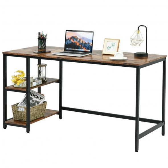 """47""""/55"""" Computer Desk Office Study Table Workstation Home with Adjustable Shelf Rustic Brown-L"""