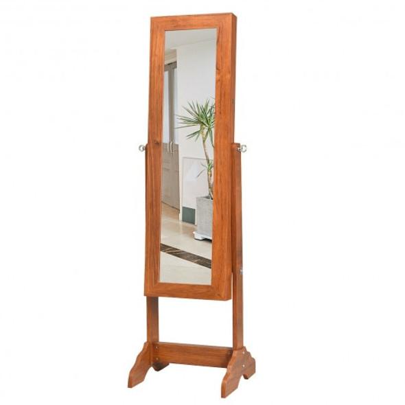 Lockable Jewelry Cabinet Armoire Standing Jewelry Holder Organizer - COHW65842